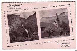 Cpsm Petit Format Dentelée,magland Cp Animée L´église + La Cascade,monument Aux Morts,cp Multivue - France