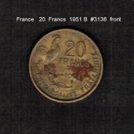 FRANCE     20  FRANCS  1951 B  (KM # 917.2) - L. 20 Francs