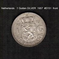 NETHERLANDS     1  GULDEN (SILVER)  1957  (KM # 184) - [ 3] 1815-… : Kingdom Of The Netherlands