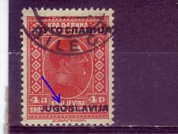 KING ALEXANDER-4 DIN-OVERPRINT-POSTMARK-BILECA-ERROR-BOSNIA AND HERZEGOVINA-YUGOSLAVIA-1933 - Non Dentelés, épreuves & Variétés