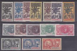 DAHOMEY - RARE SERIE PALMIERS YVERT N° 18/32 * CHARNIERE PROPRE - COTE = 580 EUROS - - 1906-08 Palmiers – Faidherbe – Ballay