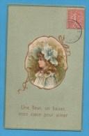 Amour  Une Fleur, Un Baiser , Mon Coeur Pour Aimer  Buste De Petite Fille   Carte Gaufrée - Phantasie