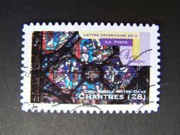 OBLITERE FRANCE ANNEE 2011 N° 553 SERIE ART GOTHIQUE CATHEDRALE NOTRE DAME DE CHARTRES  AUTOCOLLANT ADHESIF - France