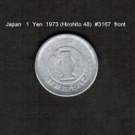 JAPAN    1  YEN  1973  (HIROHITO 48---SHOWA PERIOD)  (Y # 74) - Japan