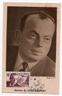 Carte Maximum - Antoine De Saint Exupéry Avec Timbre Poste Aérienne N° 21 + Cachet Au Dos - 1940-49