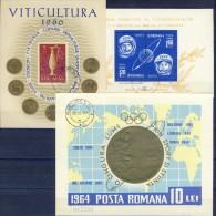 ##Q1000. Romania 1960-64. 3 Blocs. Cancelled - Hojas Bloque