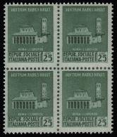 Italia: R.S.I. - Monumenti Distrutti / 1^ Emissione: 25 C. Verde (Blocco Di Quattro) - 1944 - 4. 1944-45 Repubblica Sociale