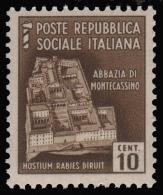 Italia: R.S.I. - Monumenti Distrutti / 2^ Emissione: 10 C. Bruno - 1944/45 - 1944-45 République Sociale