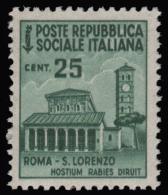 Italia: R.S.I. - Monumenti Distrutti / 2^ Emissione: 25 C. Verde Smeraldo - 1944/45 - 4. 1944-45 Repubblica Sociale