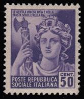 Italia: R.S.I. - Monumenti Distrutti / 2^ Emissione: 50 C. Violetto - 1944/45 - 1944-45 République Sociale