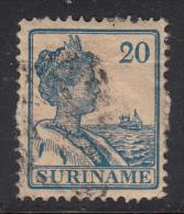 Surinam Used Scott #98 20c Queen Wilhelmina, Blue - Album Adherence - Surinam