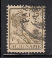 Surinam Used Scott #95 15c Queen Wilhelmina, Olive Green - Surinam