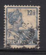 Surinam Used Scott #93 12 1/2c Queen Wilhelmina, Light Blue - Surinam