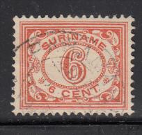 Surinam Used Scott #86 6c Numeral, Red Orange - Surinam