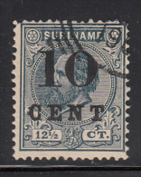Surinam Used Scott #31 10c Surcharge On 12 1/2c King William III - Surinam