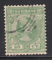 Surinam Used Scott #28 20c Queen Wilhelmina, Green - Surinam