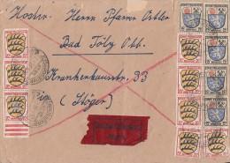 Fr. Zone Brief Eilbote Mif Minr.5x 7, 8x 8 Mundelfingen 25.4.48 - Französische Zone