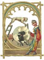 Découpis Gaufrés Encadrement à Dorures, Cirque, Dresseur De Chiens, Clown Polichinelle; DIM: 7.5cm X 6cm - Tiere
