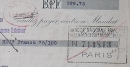 COURBEVOIE BANQUE NATIONALE FRANÇAISE DU COMMERCE EXTERIEUR Et FISCAUX Sur Effet De Commerce Confiserie DEBOYRIE 1924 - Cartes à Jouer