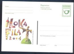 SLOVENIA POSTAL STATIONERY CARD; LOKA FILA 2004 PHILATELIC EXHIBITION - Slovenia