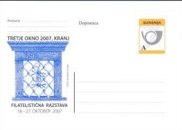SLOVENIA POSTAL STATIONERY CARD; ARHITECTURE, WINDOW, PHILATELIC EXHIBITION 2007 - Slovenia