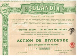 Titres Anciens SOCIETE LAITIERE HOLLANDIA Action De Dividende - Industrie