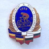 Badge / Pin (Cycling) - Romania Bulgaria Sofia Bucharest Friendly Race 1956 - Cycling
