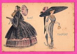 MODE - Illustration Bened ? - La Mode Avant Et Maintenant  -The Fashion Before And Now - Big Hat - Moda