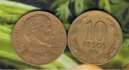 CHILE -  10 Pesos 1994  KM228 - LIBERTADOR. B. O'HIGGINS  - - Chile