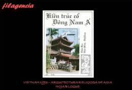 ASIA. VIETNAM MINT. 1993 ARQUITECTURA RELIGIOSA EN ASIA. HOJA BLOQUE - Vietnam