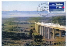 2 Cartes Maximum - TGV Méditerranéen - MARSEILLE - 2001- Viaduc De L'Arc / Viaduc De Ventabren - Trains