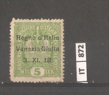 ITALIA,VENEZIA GIULIA, 1918, 5 Hel. Soprastampato , Nuovo - Venezia Giulia