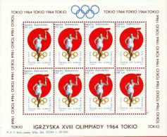 POLAND 1964 TOKYO OLYMPICS S/S NHM GLIDER MAIL CINDERELLA RUNNER TORCH OLYMPIC GAMES ATHLE - Shifted 4 - Airmail