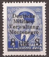 1943 GERMANIA DEUTSCHE BESETZUNG MONTENEGRO CRNA GORA  MILITAER-VERWALTUNG NO GUMM-OHNE GUMMI - Occupazione 1938 – 45