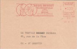 Lettre Flamme EMA Secap N 1971 Assis Debout  Santé Mobilier Travail Bureaux  Usines Industries Villeurbanne 69 12/47 - Marcophilie (Lettres)
