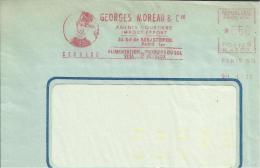 Lettre EMA Secap N Georges Moreau Theme Alimentation Vins Spiritueux Uniforme Textiles Metier   Paris 12/51 - Marcophilie (Lettres)