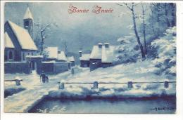Bonne Année - Illustrateur A. Bertiglia - Village Sous La Neige Bleutée - Décembre 1921 Destinataire Orange - Bertiglia, A.