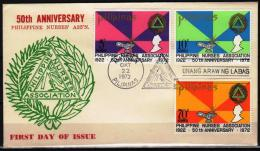 Philippines  1972 FDC 50th Anniversary  Nurses Association - Otros