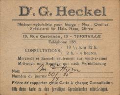 Carte De Visite / Consultation Bilingue FR/DE - Dr G. Heckel, Oto-rhino-laryngologiste (Thionville, 57) - Années 1930 - Cartes De Visite