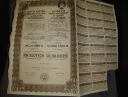 """Action Série B De 100 Zlotys""""Hauts Fourneaux Et Usines D'Ostrowiec""""1918 Bon état,reste Des Coupons. - Russia"""