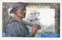 10 Fr Mineur 20/01/1944 - 10 F 1941-1949 ''Mineur''
