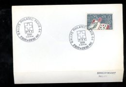 Enveloppe Premier Jour 1er Fdc Rallye Philatec Paris St Julien En Genevois 1964 (enveloppe Pliée) - 1980-1989