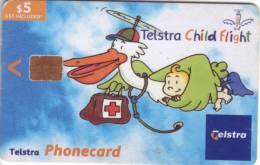 "**Télécarte Telstra PHONECARD ""Telstra Child Flight"" $5  Utilisée  Qualité TTB  **** N° Lot : 02005011N - Australia"