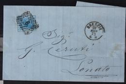 ITALIA - ANNULLO NUMERALE N.6 SU LETTERA DA BRESCIA A LONATO. 1873. - 1900-44 Vittorio Emanuele III