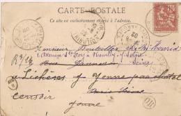 Cachet OR  Cerclé Sur Carte Precurseur Clamecy  1902. Différents Cachets Dont Un Ovale XVIII / II - 1877-1920: Période Semi Moderne