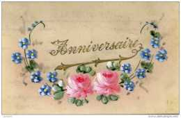 Celluloïd- Anniversaire Fleurs - Cartes Postales