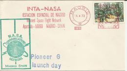 MADRID CC CON FRANQUEO MECANICO NASA PIONEER G LAUNCH DAY 1973 - Cartas