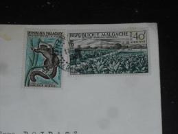 LETTRE MADAGASCAR AVEC YT 357 ET PA 79 - HAPALEMUR GRIS LEMURIEN - CHAMP DE TABAC AGRICULTURE - - Madagascar (1960-...)