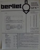 BERLIET PUBLICITE  GFK 10 FICHE RECTO VERSO - Advertising