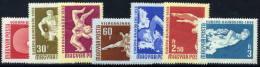 HUNGARY 1958 European And World Sports Championships Set Of 7 MNH / **.  Michel; 1542-48 - Hungary